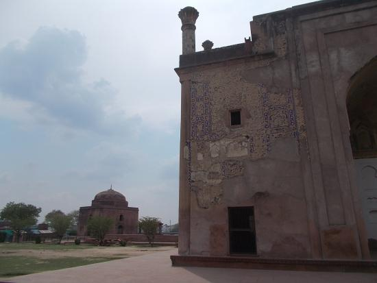Chini Ka Rauza: The front face of the tomb building with its smaller replica seen a little to the left