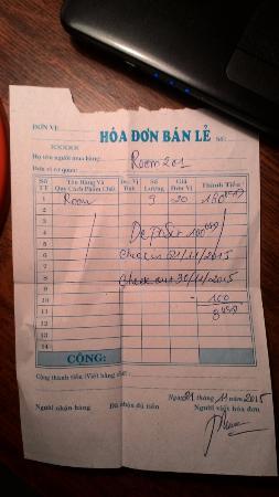 Hoang Kim Golden: Квитанция об оплате проживания в данном отеле