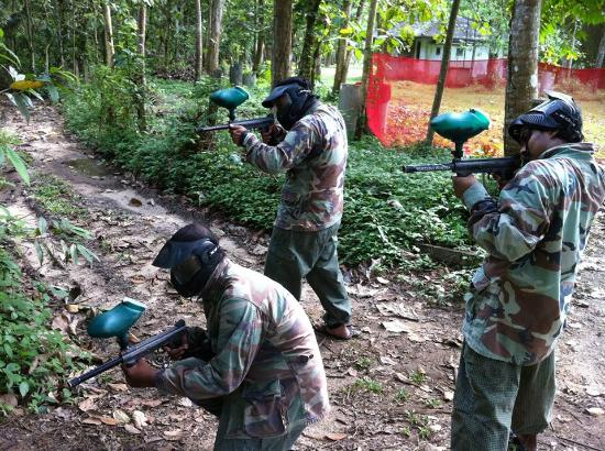 Hanwella, Sri Lanka: During a paint ball war