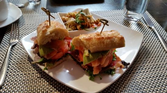 Hops and Vines: House Cured Salmon and Avocado B.L.T. sandwich.w/ pasta salad.