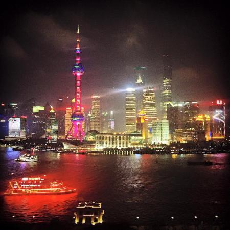 The Peninsula Shanghai: Rooftop Bar nightview on the Skyline of Shanghai