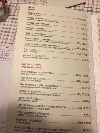Menu Picture Of Kuchnia U Doroty Krakow Tripadvisor