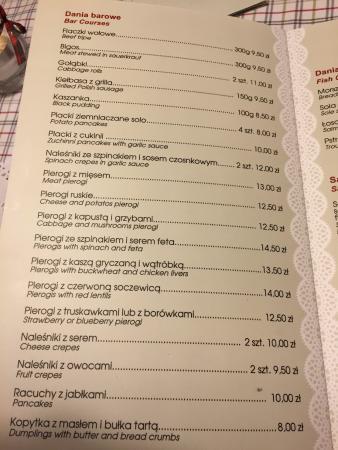 Menu3 Picture Of Kuchnia U Doroty Krakow Tripadvisor