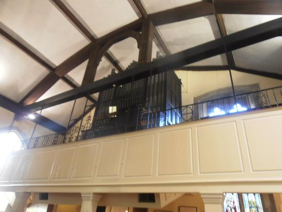 Dymchurch, UK : The organ - sited on an upper floor