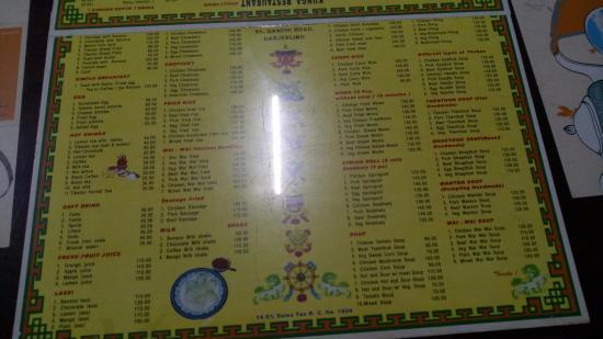 menu chart: Menu chart picture of kunga restaurant darjeeling tripadvisor