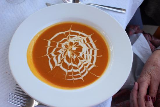 Ic-cima: Cream of Pumpkin soup plus spider's web cream decor