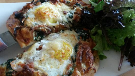 Rhubarb Restaurant: Breakfast Pizza and Chocolate pot