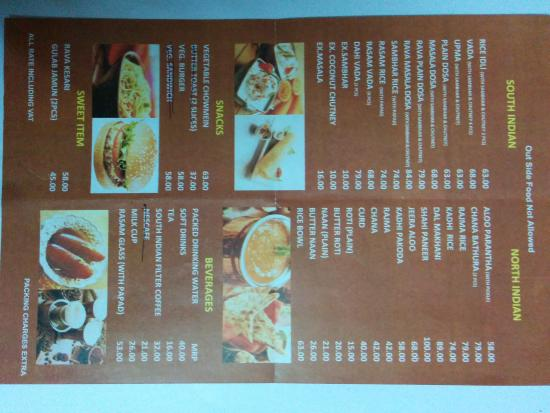 Vaishno Devi, India: Menu