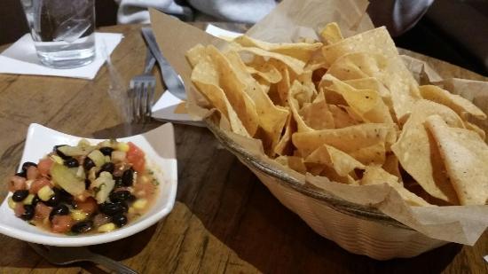 Westland, MI: A free chips with a tasty corn, black bean, artichoke salsa