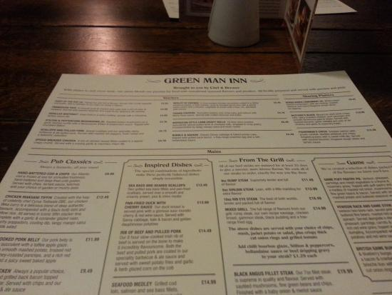 The green man inn...decent menu choice