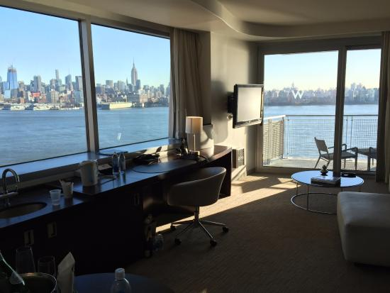 coffee on our balcony view of the freedom tower picture. Black Bedroom Furniture Sets. Home Design Ideas