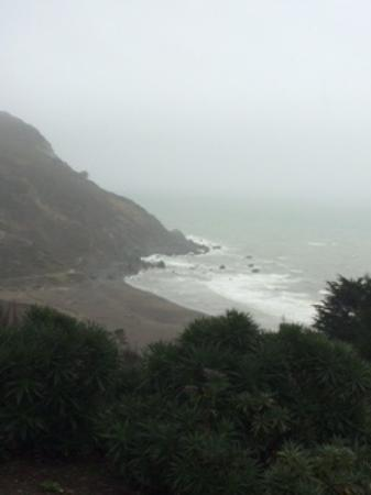 Muir Beach on a rainy, foggy day