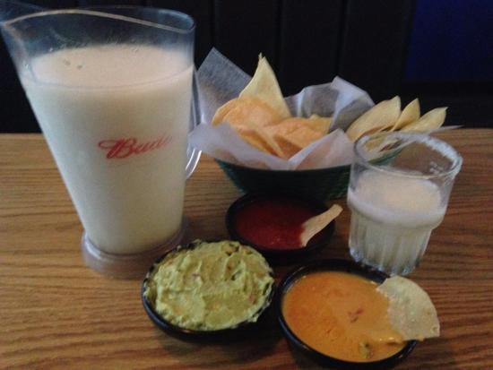 Parkville, MO: Pitcher Margaritas $12 (during Chiefs games), Guacamole $4.99, Yellow Cheese Dip $3.69, Chips/Sa
