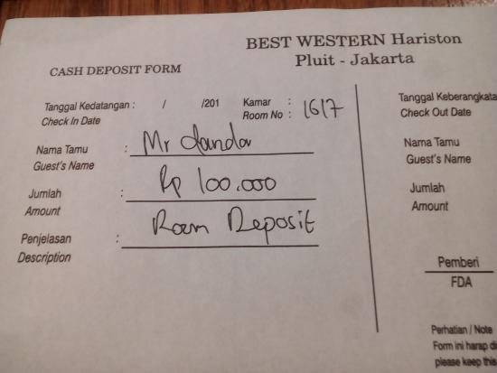 deposit form hotel  deposit yang murah - Picture of Hariston Hotel & Suites ...