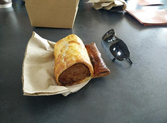 Blagdon, UK: Monstrous sausage roll, with sunglasses for scale!