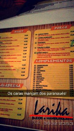 Larika Sucos E Hamburgers
