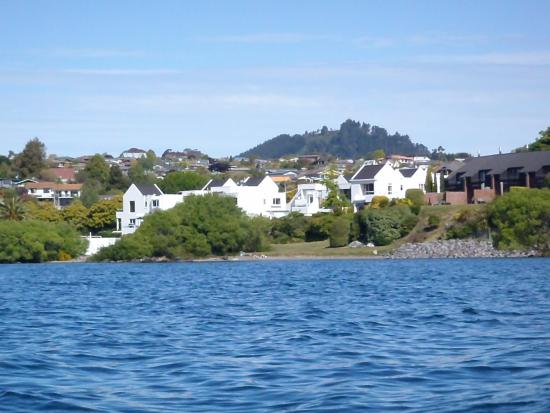Lake Edge Resort as seen while sailing on Lake Taupo