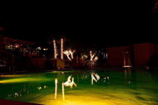 Sanctuary Camelback Mountain: Infinity pool decorated for Christmas at Sanctuary on Camelback Mountain