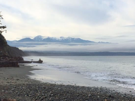 Sequim, Вашингтон: looking back at the Olympic mountains