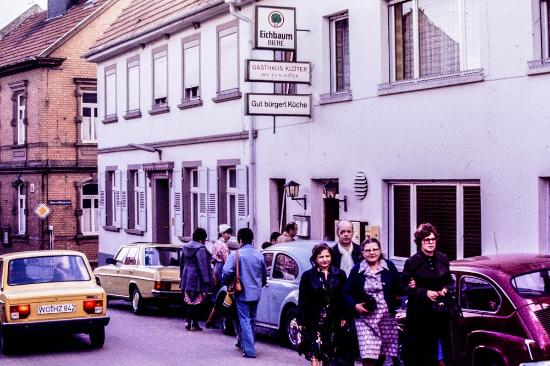 Kloeter: My family and sponsor entering the chicken place in Moelsheim.