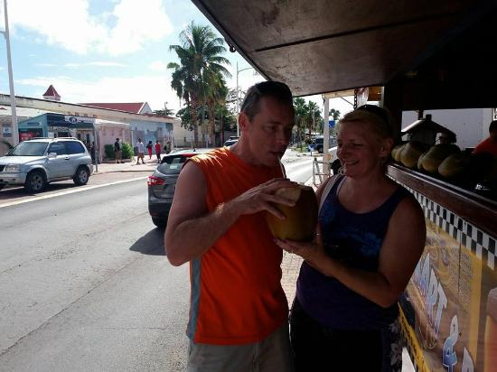 Oyster Pond, Saint-Martin / Sint Maarten: Top of the World having a cold drink!