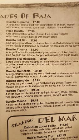 Jacksonville, AL: Partial menu