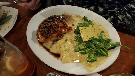 Red White & Brew: Pecan maple salmon and sweet potato ravioli on spinach