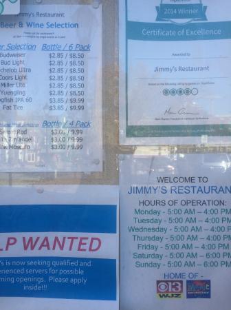 Jimmy's Restaurant: 営業時間に注意