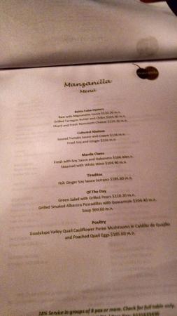 La Manzanilla : menus for the night