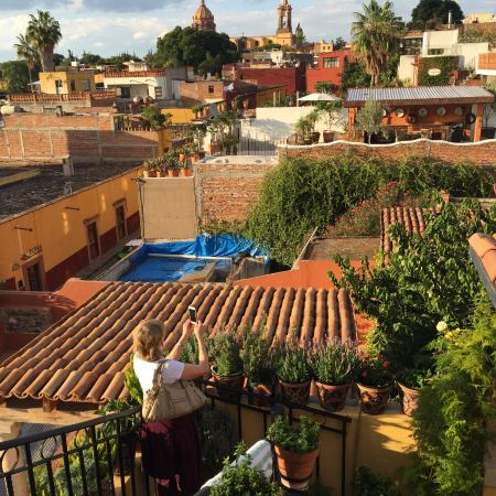Casa Maricela: view of town center from the roof-top lounge