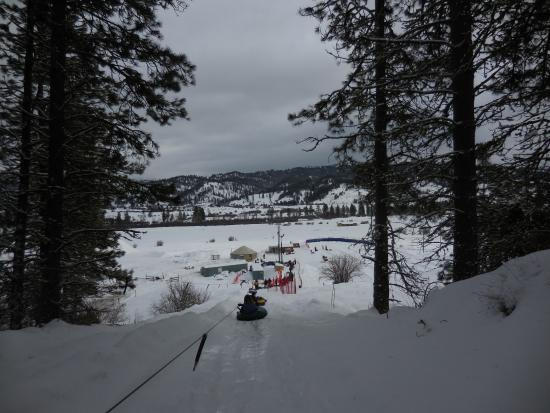 Garden Valley, ID: View from tow rope back to bottom of the hill