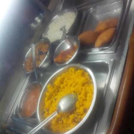 Singh's Fast Food Restaurant: saffron rice with peas, johnny cakes, rice