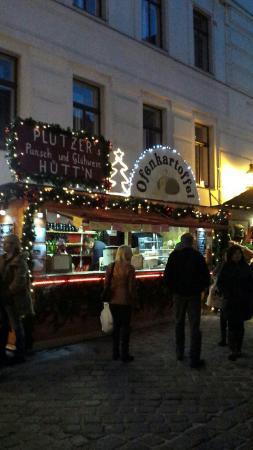 Christmas market stall outside pub