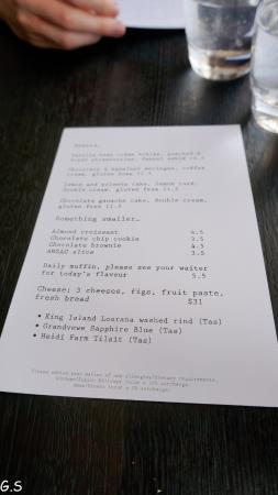 Stillwater Restaurant: Simple menu