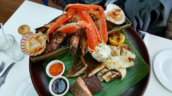 Grilled seafood platter images for Blue fish restaurant