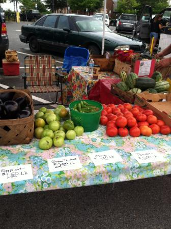 Maryville Farmers Market: green and red tomatoes, eggplant,and beans