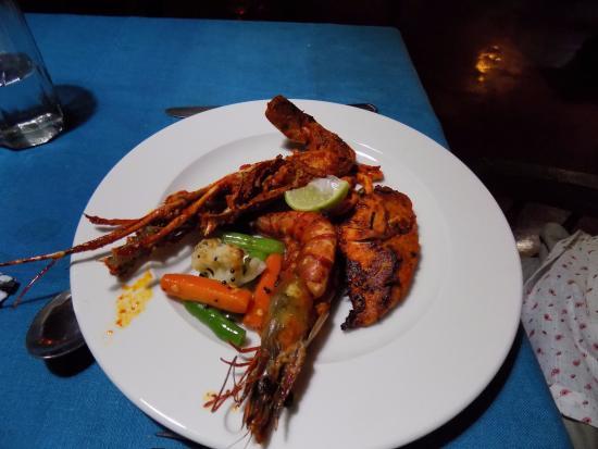 Rossitta Garden Restaurant: 5. Masala grilled seafood platter-lobster, prawns, squid, fish with tempered vegetables