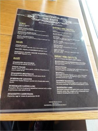 Huskisson, Australië: Menu at Faro Bianco