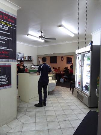 Husky Wood Fired Pizza: Inside Faro Bianco, reception, gelato (left) & drinks (right)