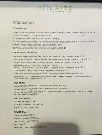 "Solaire Restaurant + Bar: ""Breakfast Menu"""