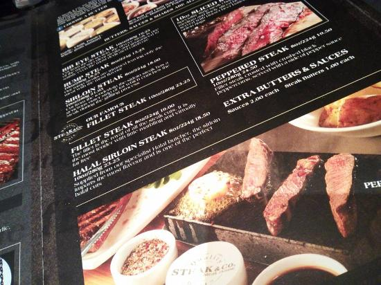 The Steak Menu The Halal Steak Is At The Bottom Picture Of Steak Co Leicester Square Charing Cross London Tripadvisor