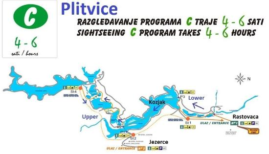 Map route C  Picture of Plitvice Lakes National Park Plitvice