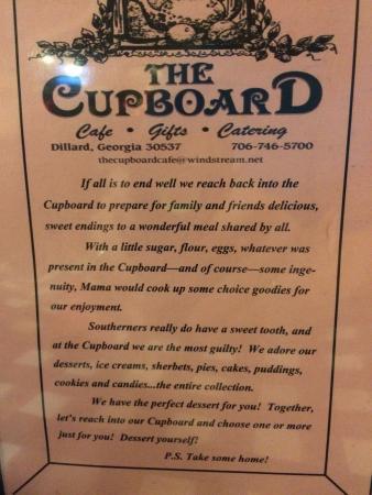 Cupboard cafe menu