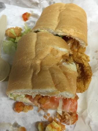 Bon Creole Seafood: combo po-boy - fresh shrimp, crawfish, oysters and catfish with a dust of cornmeal breading