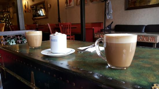 Ridgewood, NY: from the left:salty caramel coffee, hot chocolate, gingerbread coffee