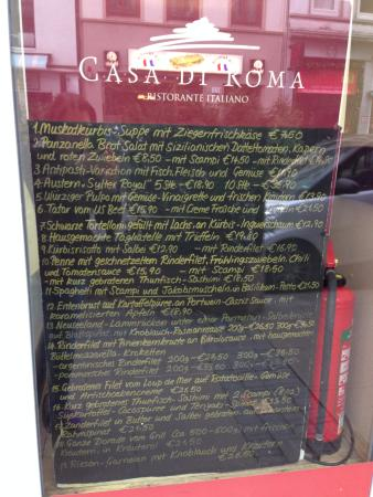Casa Di Roma: The Christmas special.  A placard similar to this one was placed on my table.
