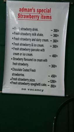 The Menu Price List