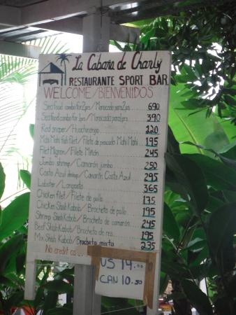 Barra de la Cruz, Mexico: Menu