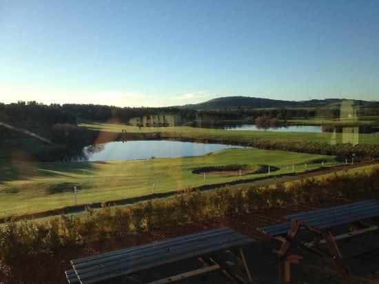Drumoig, UK: View over 18th from clubhouse