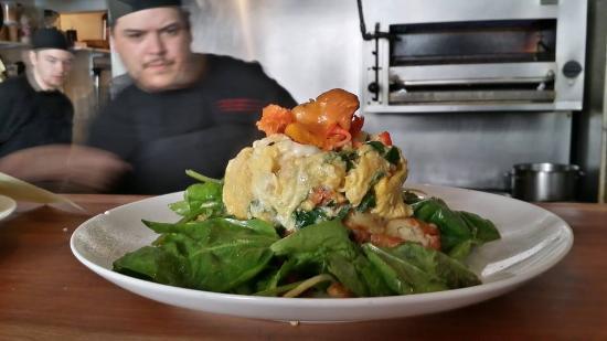 Duo Bistro: Parmesan spinach scramble